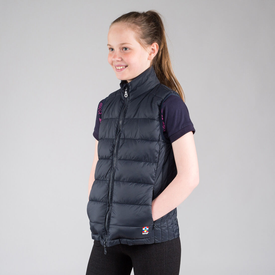 Horze Ladies Kids Navy Blue Burgundy Padded Winter Repelling Riding Vest Coat