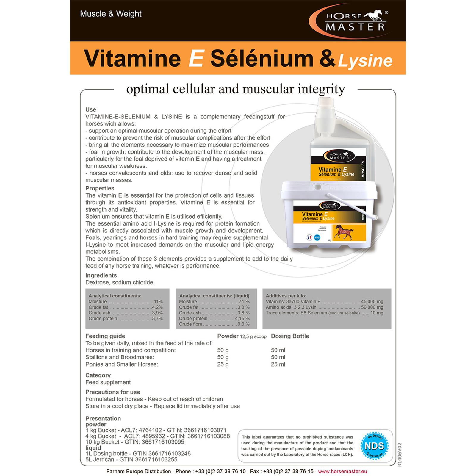 new high quality factory outlets wide varieties HorseMaster Vitamine E - Selenium - Lysine - Powder, 4 kg